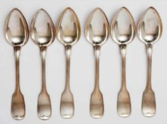 Sechs SuppenlöffelAugsburger Faden. Silber 800. Halbmond, Krone. Herstellermarke Vereinigte