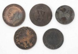 Konvolut VariaFünf Münzen. Unter anderem Amtskörperschaft Marburg 1918, Napoleon III; Knopfloch -