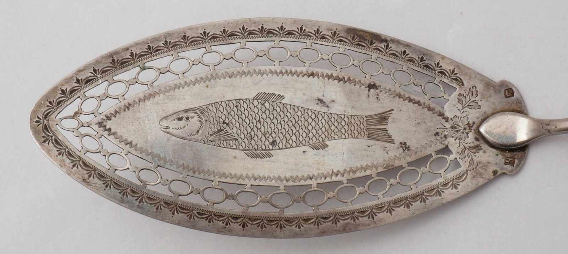 FischbesteckWohl Dänemark und England, 18. Jh. Silber. Fischbesteck für acht Personen mit - Bild 3 aus 8