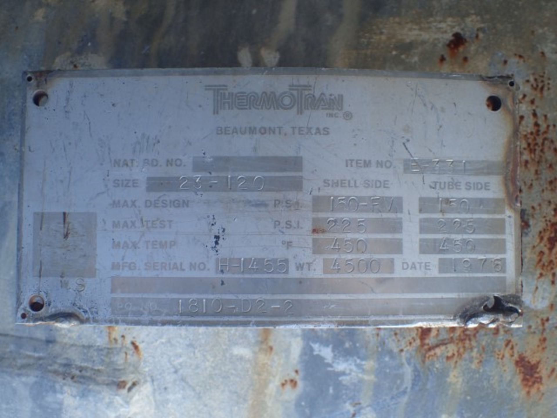 Lot 4 - 239 Sq Ft Thermotran Heat Exchanger, S/S, 150/150#