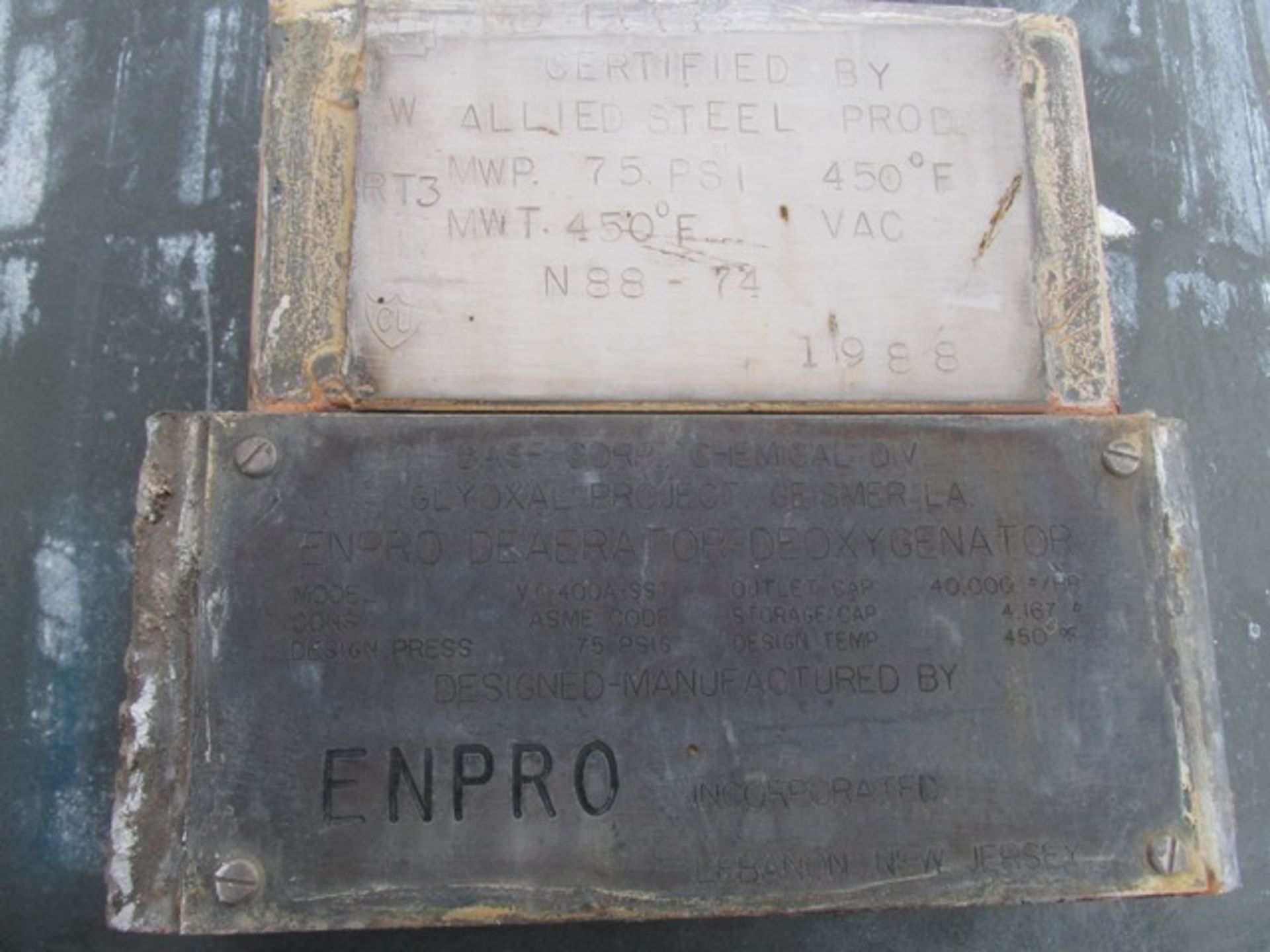 Lot 3 - ENPRO DEAERATOR DEOXYGENATOR, C/S, 40000#