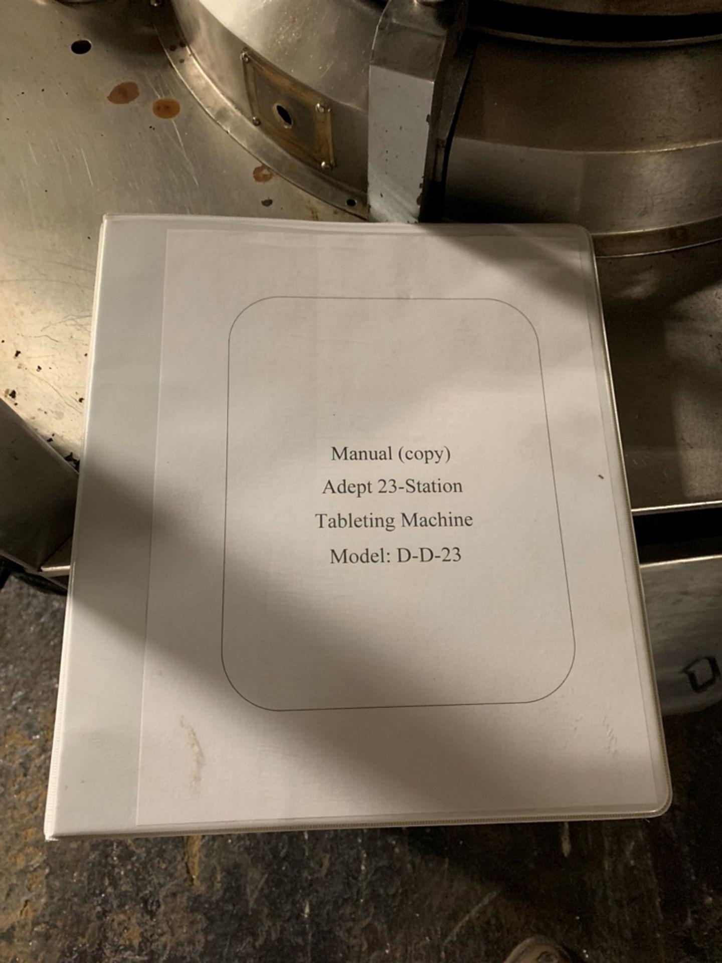 Lot 40 - Adept rotary tablet press, model DD23, 23 station, D tooled, 10 ton compression pressure, 25 mm