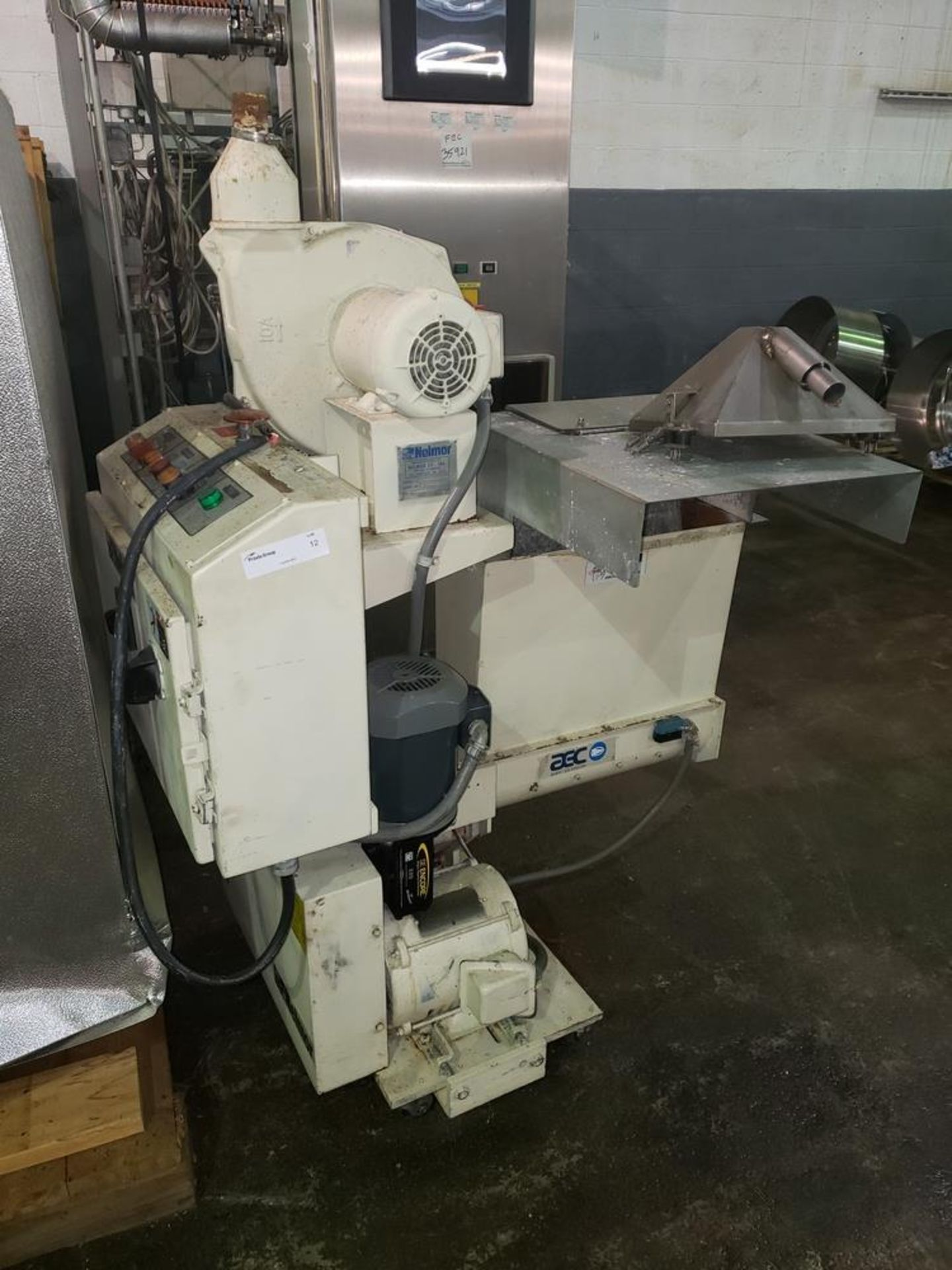 "Lot 12 - Nelmor granulator, model F211, 8"" wide feed opening, screw feed, 2 knife rotor, 5 hp, 230/460 volt"