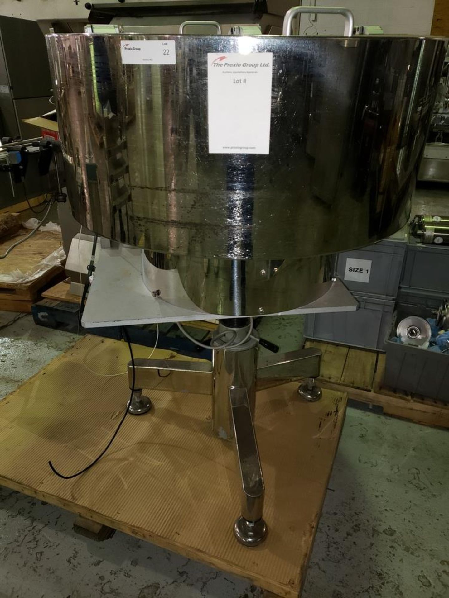 Lot 22 - OZAF vibrating bowl feeder, stainless steel construction on stand.