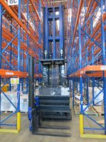 Lot 27 - 2001 BOSS MODEL WA151-22160 1500KG ELECTRIC HIGH RACK ISLE STACKER TRUCK