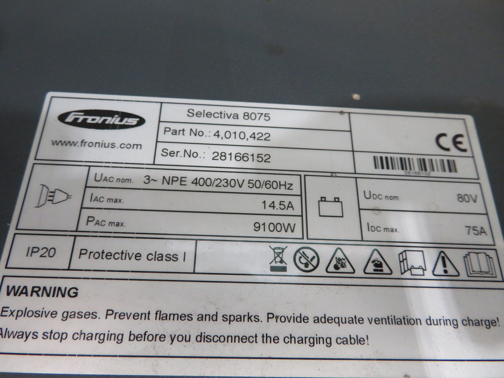 Lot 49 - FRONIUS SELECTIVA 8075 8KW - 80V BATTERY CHARGER; SERIAL NO 28166152