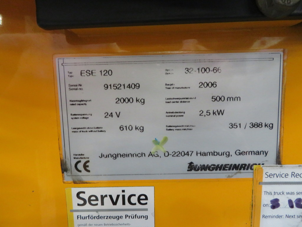 Lot 28 - 2006 JUNGHEINRICH MODEL ESE 120 2000KG RIDE-ON ELECTRIC PALLET TRUCK
