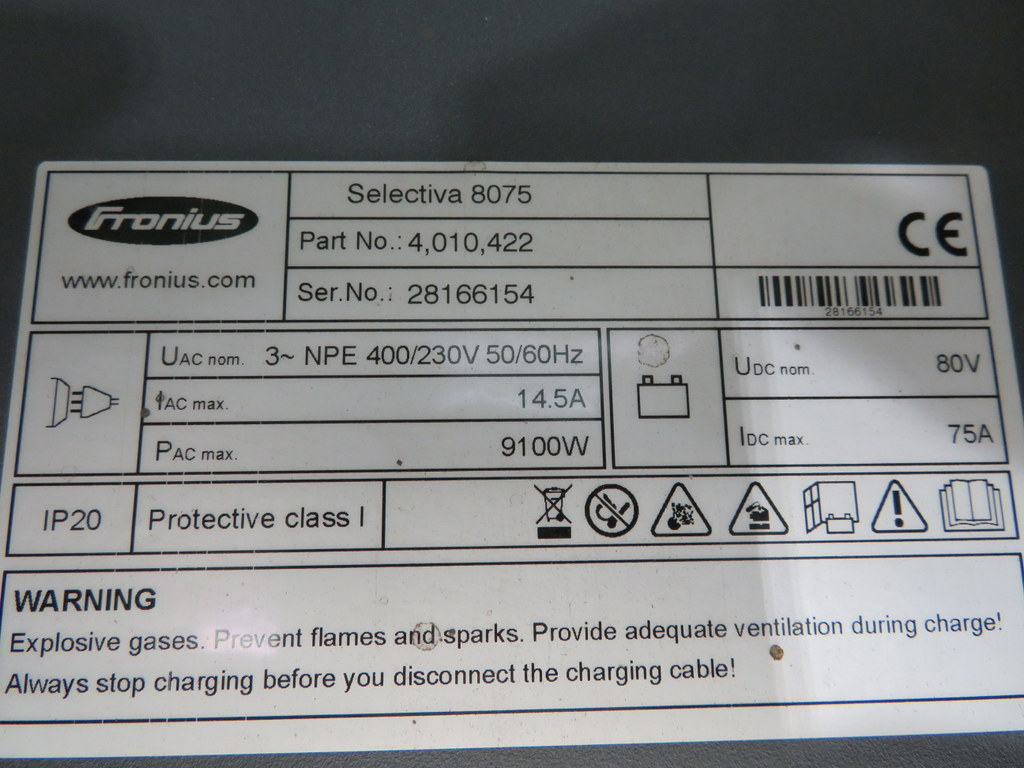 Lot 48 - FRONIUS SELECTIVA 8075 8KW - 80V BATTERY CHARGER; SERIAL NO 28166154