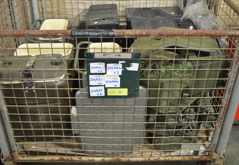 Lot 39 - 3x Paraffin Heater. 3x Waste Bin Lids. 4x Norwegian Food Container. Lightweight Tarpaulin/