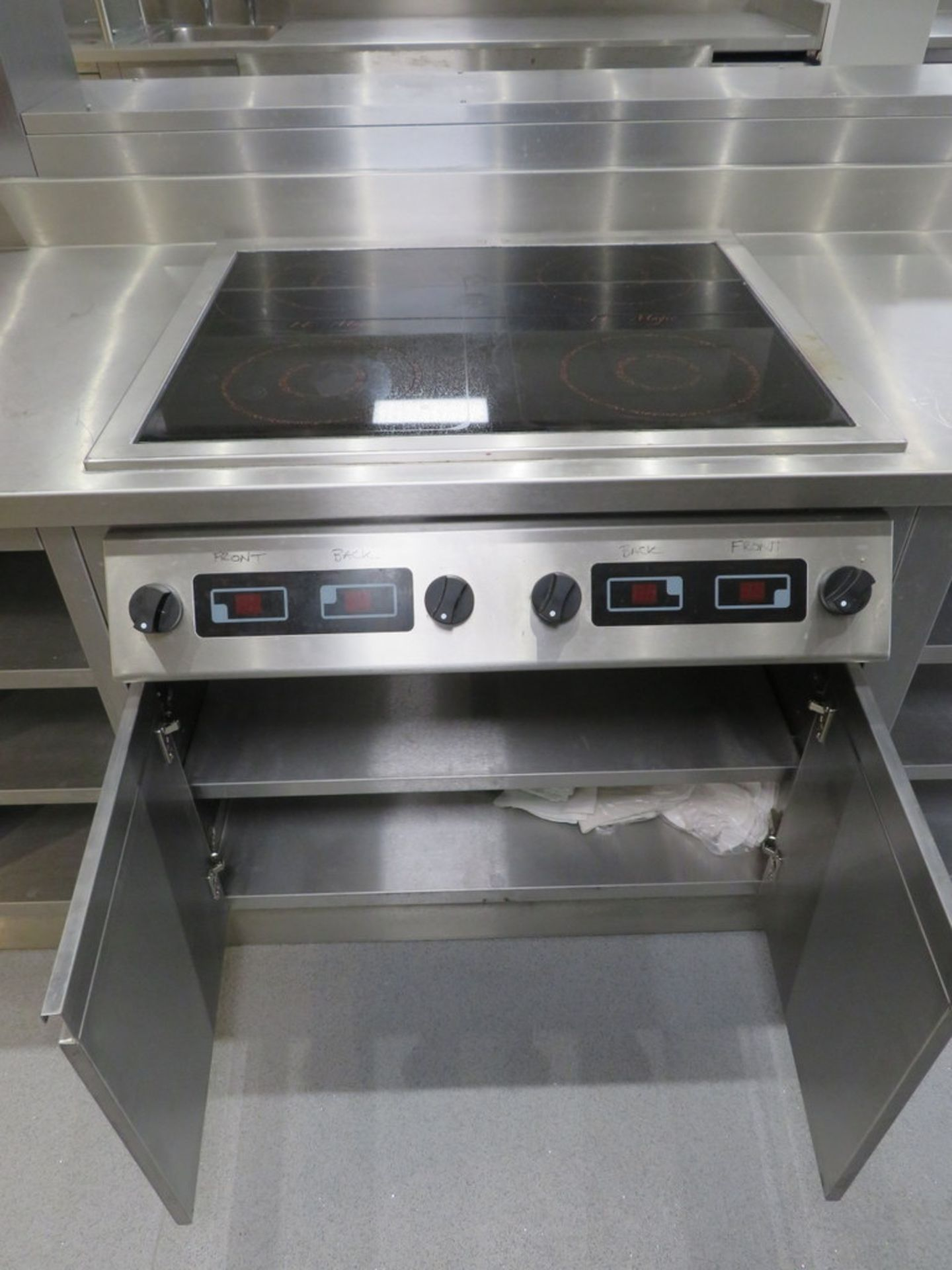 Lot 24 - STAINLESS STEEL PREP UNIT WITH BUILT IN INDUCTION HOB