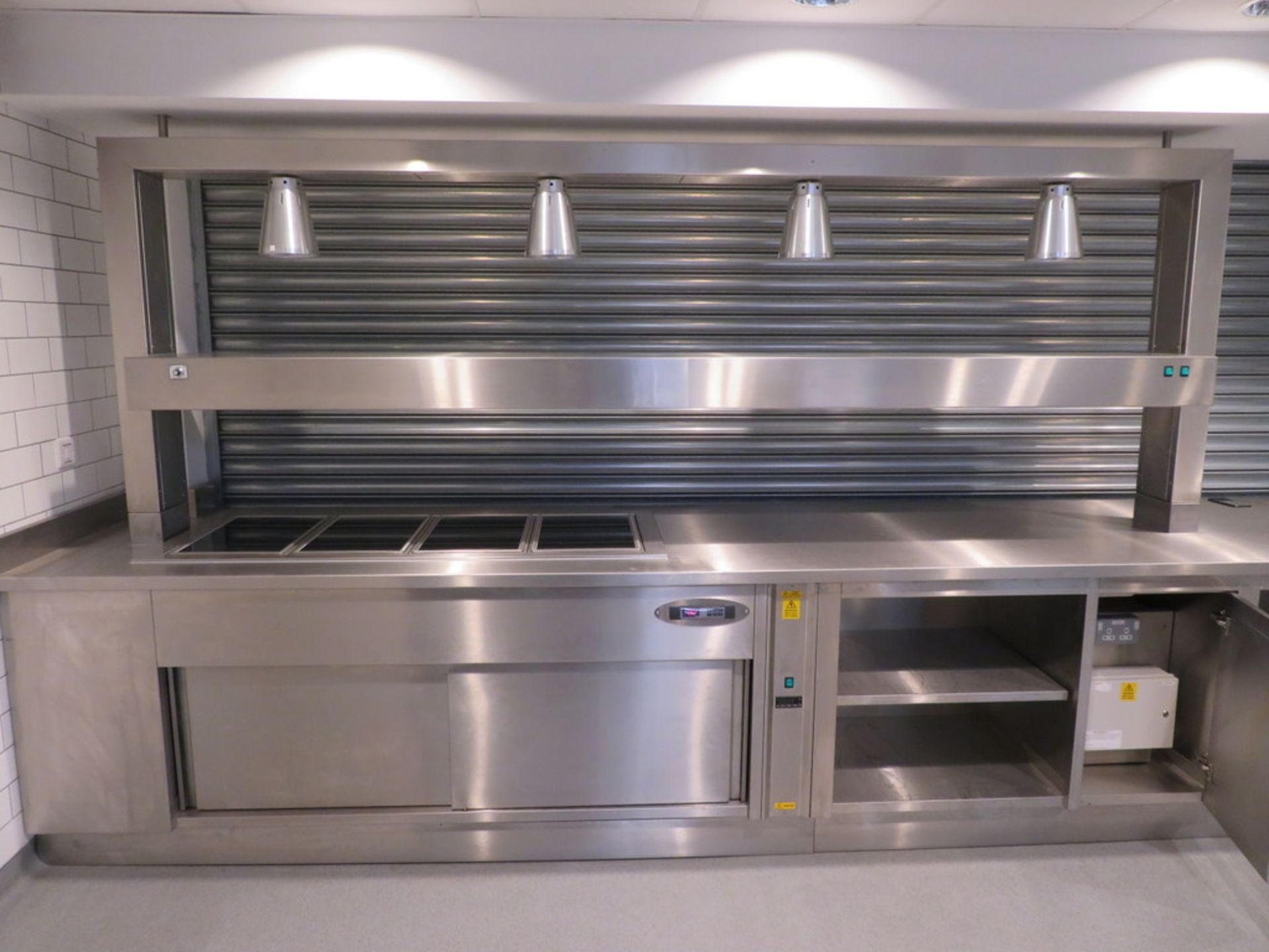 Lot 11 - BUILT IN STAINLESS STEEL HOT FOOD COUNTER WITH TWIN SERVERIES