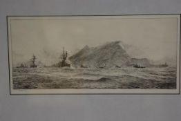 William Lionel Wyllie R.A. (1851-1931), The Rock of Gibraltar, etching, signed lower left, framed.