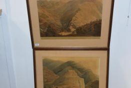 Havell after Fraser, House of Rana of Cote Garoo and The Fort of Raeengurh, a pair of coloured