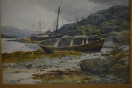 Tom Scott R.S.A., R.S.W. (Scottish, 1854-1927), Beached Fishing Boats, signed and dated 1881,