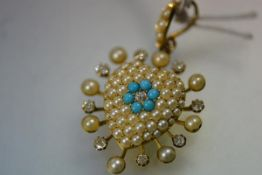 A striking seed pearl, diamond and turquoise pendant, c. 1900, of heart form, centred by an old