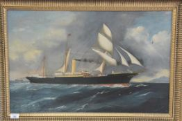 British School, 19th Century, A Study of the SS Aberdeen, unsigned, oil on canvas, framed (patched