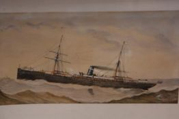 A. Burroughs (fl. late 19th century), A Steam Packet in Choppy Waters, signed lower right and