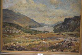Herbert Royle (British, 1870-1958), A Highland Loch, signed lower right, oil on board, framed.