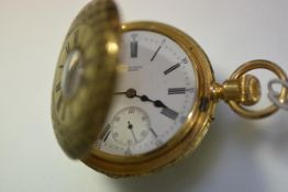 A 19th century Swiss lady's 18ct gold half hunter mourning pocket watch, the case delicately