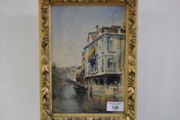 "Continental School, late 19th century, A Venetian Canal Scene, signed ""Marchen Venezia"" lower"