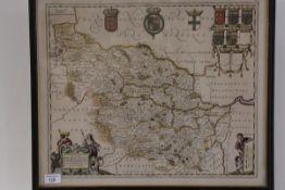 Gerard Valk & Peter Schenk, West Riding of Yorkshire, a part-coloured engraved map, framed. 41cm