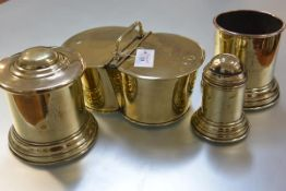 A group of 19th century brass kitchenalia from Mar Lodge, Aberdeenshire, comprising a sifter, hinged