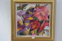 """•Shona Barr (Scottish, b. 1965), """"A Gift of Flowers"""", signed lower left, oil on canvas, framed. 49cm"""