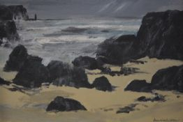 Jim Nicholson (Scottish, 1924-1996), A Rocky Bay in the Western Isles, signed lower right, oil on