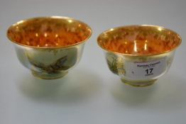 Daisy Meikig Jones for Wedgwood, two small lustre bowls, decorated with butterflies, each with