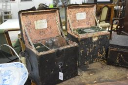 """A pair of Georgian carriage trunks, c, 1800, each leather bound, bearing paper label """"James &"""