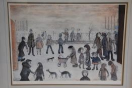 •After Laurence Stephen Lowry R.A. (1887-1976), The Park, a limited edition colour reproduction,