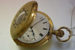 An 18ct gold gentleman's half hunter pocket watch, hallmarked for London 1916, the case with