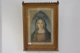 Samuel Arlent Edwards after Botticelli, Madonna, mezzotint, signed in pencil, in a Gothic Revival