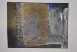•Alastair Michie R.W.A. (Scottish, 1921-2008), Abstract in Gold, Blue and Grey, signed lower left