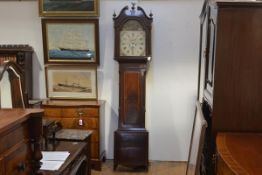 An early 19th century Scottish string-inlaid mahogany longcase clock, the arched painted dial signed