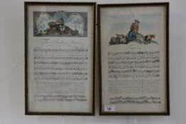 A pair of 18th century coloured engravings of song scores, each with vignette, titled The Pensive