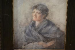 Late 19th Century School, Girl in a Blue Shawl, indistinctly signed, watercolour, framed. 21cm by