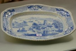 John and William Ridgway, a blue and white ashet or serving dish in the Indian Temple pattern,