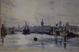 John Kidd Maxton (Scottish, 1878-1942), Glasgow University from the Clyde, signed lower right,