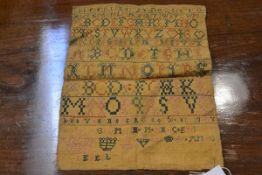 An 18th century alphabet and number sampler, dated 1751, worked in greens and pink, on linen,