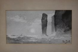 Tom Scott R.S.A., R.S.W. (Scottish, 1854-1927), Sea Stacks, possibly Caithness, signed lower