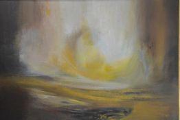 Ralph Cowan (Scottish, 1904-2004), Abstract Landscape, signed lower left, oil on board, framed.