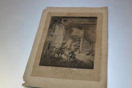 Adriaen van Ostade (1610-85), The Painter in His Studio, etching and engraving in black ink on