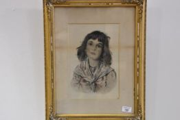 Late 19th Century School, Portrait of a Girl Wearing a Scarf, ink and watercolour, inscribed