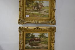"""G. Rockhill (British, 19th/early 20th Century), """"The Farm Pool"""" and """"Meadow Pastures"""", a pair of"""