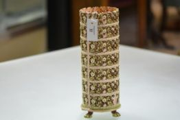 A 19th century Austrian majolica pottery vase or stand, of columnar form, pierced and moulded with