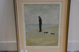 •After Laurence Stephen Lowry R.A. (1887-1976), Man Looking out to Sea, colour reproduction,