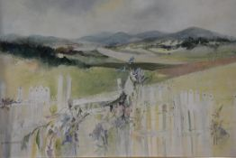 Wilma Dunbar (Scottish, b. 1946), Picket Fence, Blairs, signed lower left and dated (19)87, oil on