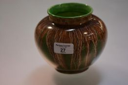 Richard Amour for Bough Pottery, a globular vase, glazed with streaks of brown, green and cream,