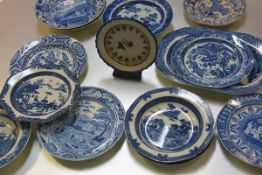 A group of early 19th century blue and white pearlware, various factories including Long Bridge